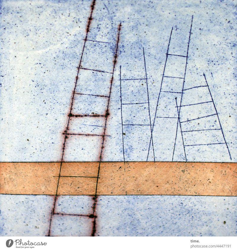 ladder dance linien keramik leiter farbe rost blau gelb striche kunst oberfläche