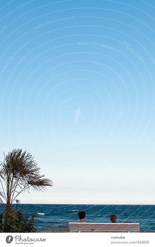 Meerblick Mensch Himmel Ferien & Urlaub & Reisen blau Wasser Sommer Sonne Baum ruhig Strand Ferne feminin Kopf Horizont Luft