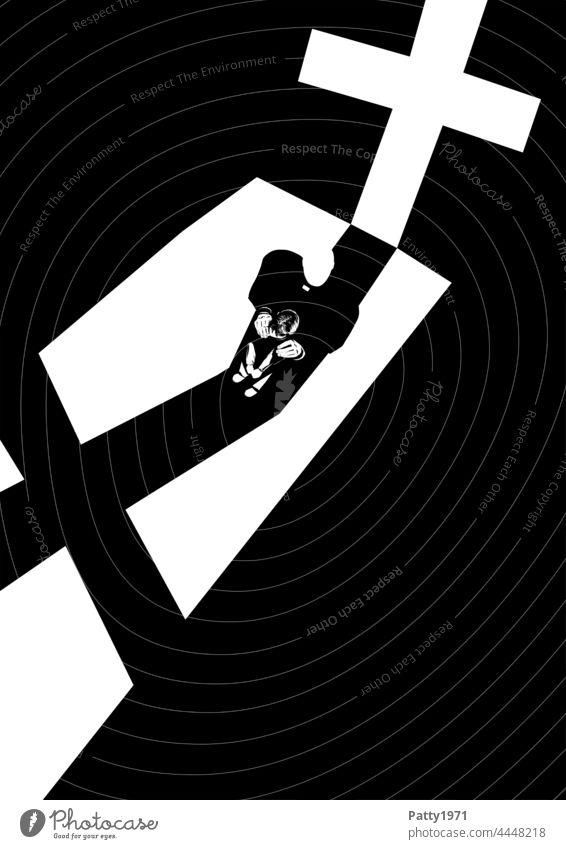 Abstrakte schwarzweiss Illustration. Priester legt einem vor ihm stehenden, kleinen Jungen die Hände auf die Schultern und schaut nach oben. Beide stehen vor einem großen Kruzifix, dessen langer Schatten vor ihnen auf den Boden fällt.