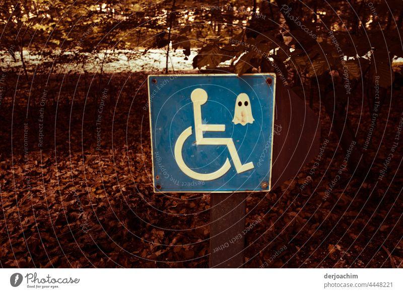 Geheimnissvolle Geister  Masken für Rollstuhlfahrer Farbfoto Menschenleer Außenaufnahme Behinderte Behindertengerecht Schilder & Markierungen Zeichen Parkplatz