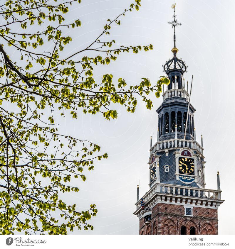 Architektur in Alkmaar, die Niederlande holländisch Europa architektonisch Gebäude Großstadt Farbe farbenfroh Fassade im Freien Turm Stadt urban
