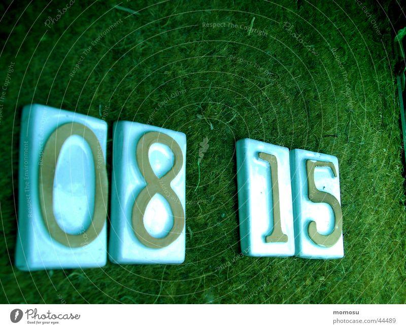08 15 grün Ziffern & Zahlen historisch Wort Matten