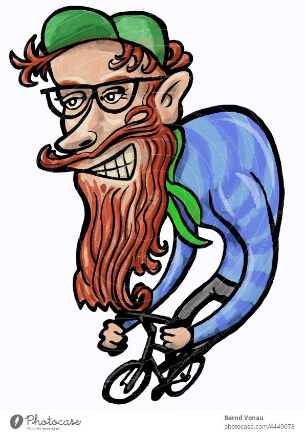 Fahrrad Hipster fahren Rotbart Bart Karikatur Fahrradfahren verzerrt illustration grinsen Brille kappe rothaarig Zeichnung Dynamik Sport Verkehr