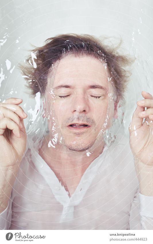wasser atmen Körperpflege Badewanne Mann Erwachsene 1 Mensch 30-45 Jahre Wasser T-Shirt blond Bart fallen Schwimmen & Baden tauchen nass weich weiß Gefühle