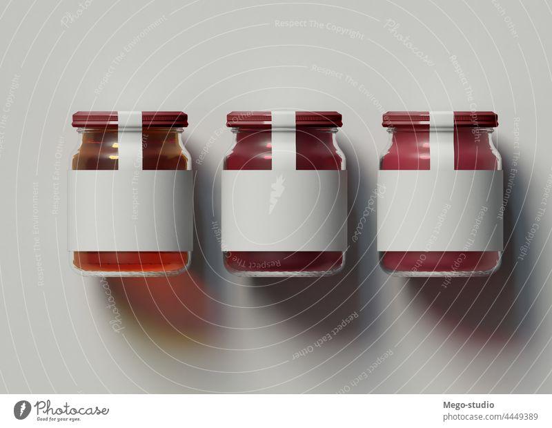 3D-Illustration. Mockup von drei Marmeladengläsern auf isoliertem Hintergrund. 3d Attrappe Glas vereinzelt kennzeichnen blanko konservieren Paket Werbung Logo