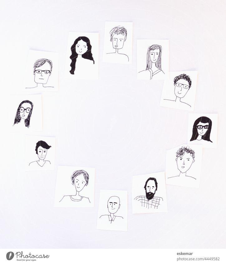 Gesichter Menschen Kreis rund Frau Mann viele gezeichnet Zeichnung Kunst Textfreiraum Hintergrund weiß weisser Frauen Männer Porträt Porträts lustig Zeichnungen