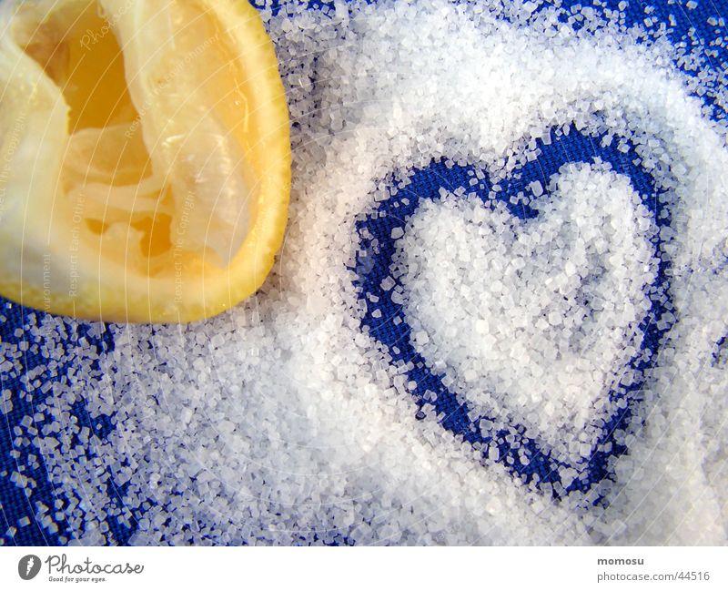 liebe süß sauer blau Liebe gelb Herz süß Wut Zucker Zitrone