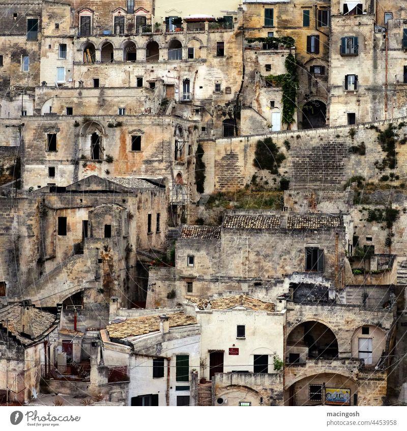 Die Sassi in Matera, Basilikata Italien Süditalien Ferien & Urlaub & Reisen Außenaufnahme Tourismus Landschaft Menschenleer Europa Architektur Altstadt Gebäude