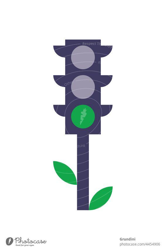 Öko-Ampeln Ökologie Grafik u. Illustration graphisch einfach ökologisch Verkehr grün