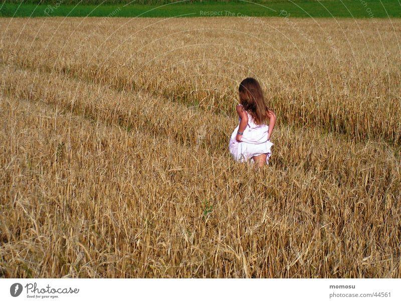 auf und davon Feld Kind Gras Kleid Getreide Korn Haare & Frisuren laufen Flucht Sommer
