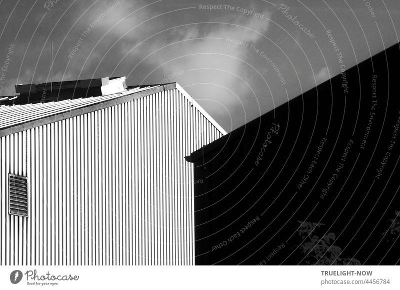 Alles Fassade. Architekten Poesie. Leere und doch Form. Stirnwand Gewerbe Architektur Halle Wellblech Lüftung Dach Immobilie Himmel Wolke monochrom Design