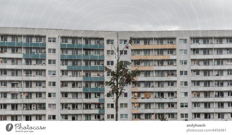 Trostloser kleiner Baum vor einem großen Wohngebäude allein anonym Appartement Wohnhaus Architektur Herbst Balkon Wohnblock Gebäude Großstadt Stadtbild Cloud