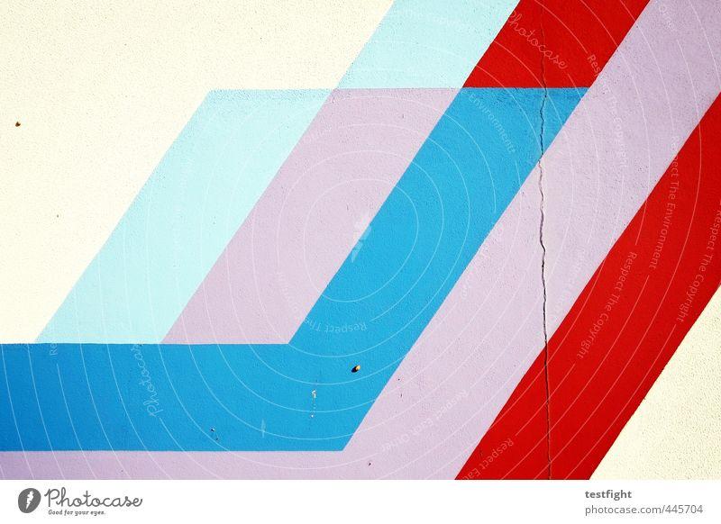 streifen blau weiß rot Wand Farbstoff Mauer Fassade Streifen violett türkis Farbenspiel
