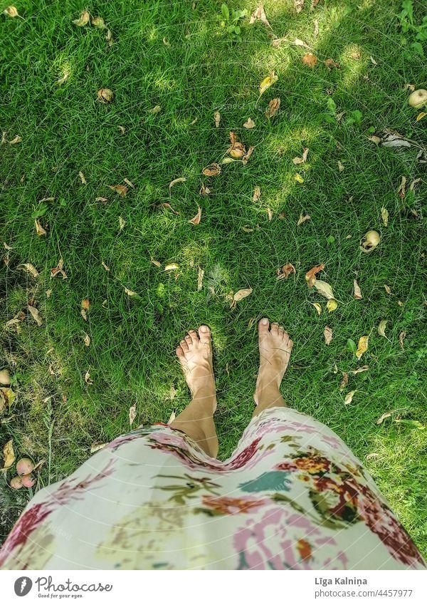 Frau mit nackten Füßen im Gras stehend barfüßig Fuß Beine Barfuß Zehen Erholung Sommer Mensch Ferien & Urlaub & Reisen Stehen Farbfoto Kleid