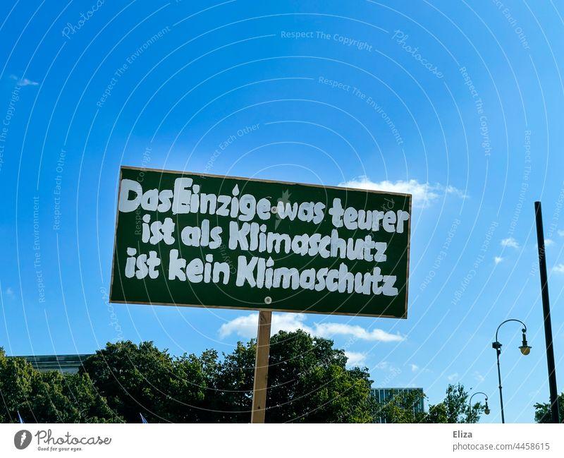 Schild auf einer Friday for Future Demonstration für den Klimaschutz Klimawandel klimakrise fridays for future Umweltschutz teuer