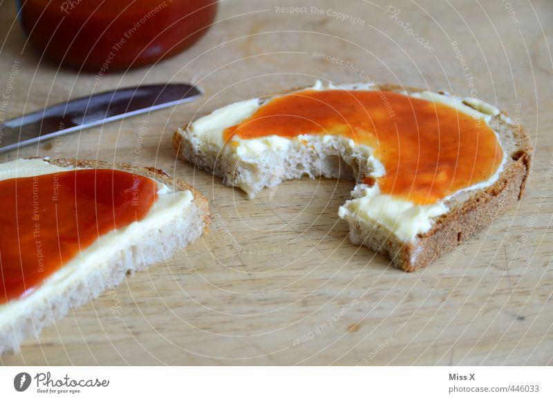 Marmeladenbrot Essen Lebensmittel Ernährung einfach süß Appetit & Hunger lecker Frühstück Brot Messer beißen Büffet Vesper Brunch selbstgemacht Belegtes Brot