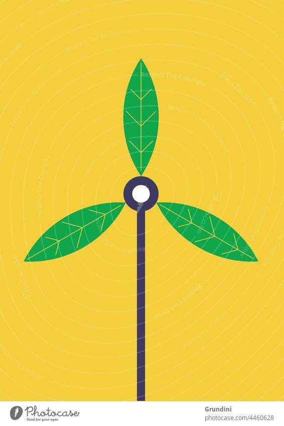 Öko-Wind Ökologie Grafik u. Illustration graphisch einfach ökologisch Windturbine Blätter Klimawandel Erneuerbare Energien erneuerbare Energien