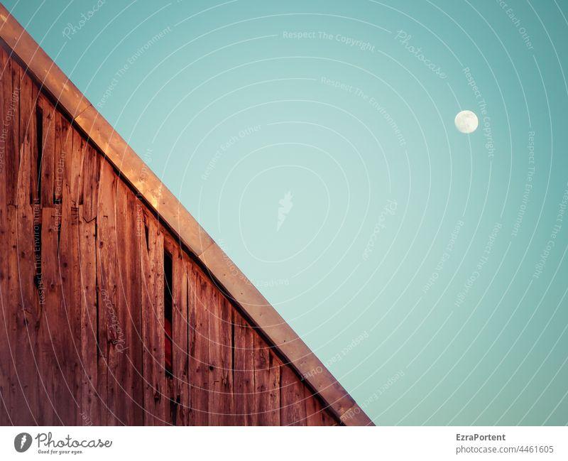 \ Mond Himmel Mondschein Haus Holz Fassade blau Vollmond Textfreiraum Landschaft Natur