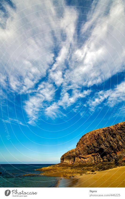 Himmel Natur Ferien & Urlaub & Reisen blau weiß Sommer Meer Erholung Landschaft Wolken Strand gelb Küste Stein Sand Felsen