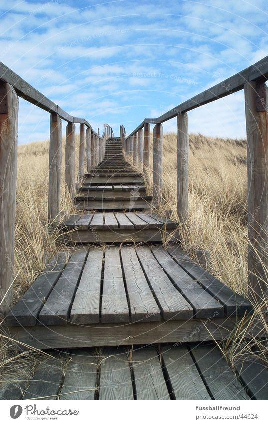 stairway Steg Holz Unendlichkeit Einsamkeit Treppe Stranddüne Ferne Insel Himmel