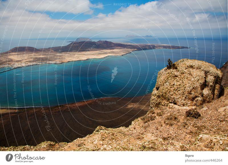 Himmel Natur Ferien & Urlaub & Reisen Stadt Pflanze Sommer Meer Landschaft Wolken Strand gelb Küste Stein Felsen Sand Tourismus