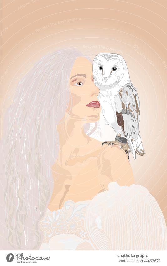 weiße Frauen mit Eule Eulenvögel Vogel Vektor Grafik u. Illustration