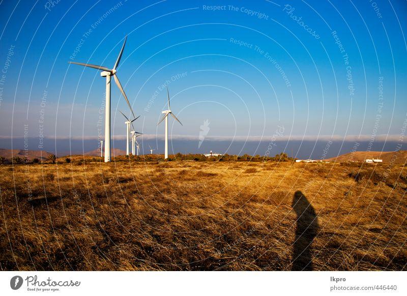 y auf der Insel Lanzarote Spanien Spanien Afrika Teller Ferien & Urlaub & Reisen Erneuerbare Energie Windkraftanlage Natur Pflanze Himmel Wolken Sturm Gras