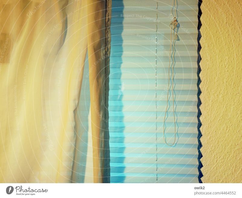 Faltrollo Detailaufnahme Nahaufnahme einfach leicht Strukturen & Formen Muster Schatten Kunstlicht Schnur Knoten hängen geschlossen Vorhang Textilien Stoff dünn