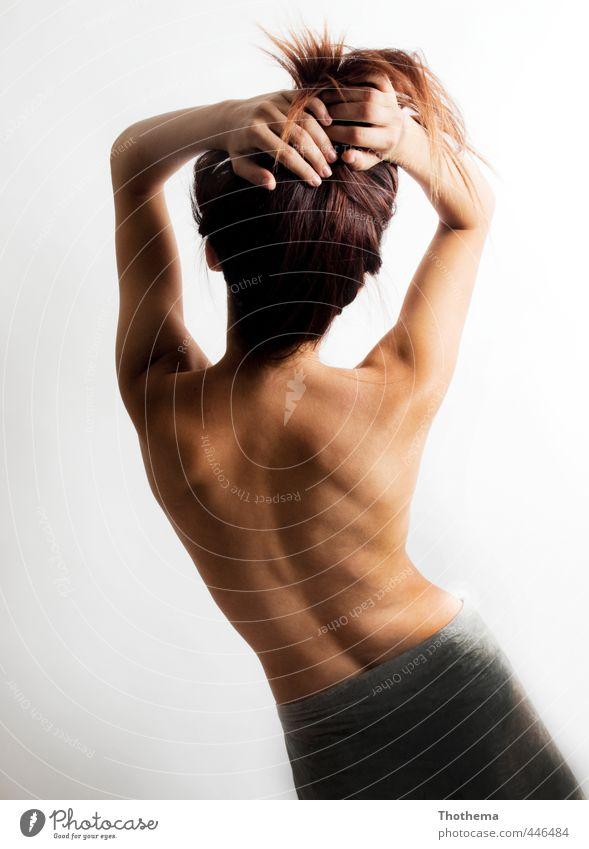 rücklings Mensch feminin Junge Frau Jugendliche Erwachsene Rücken 1 18-30 Jahre ästhetisch elegant nackt dünn schön Freude Fröhlichkeit Lebensfreude Bewegung