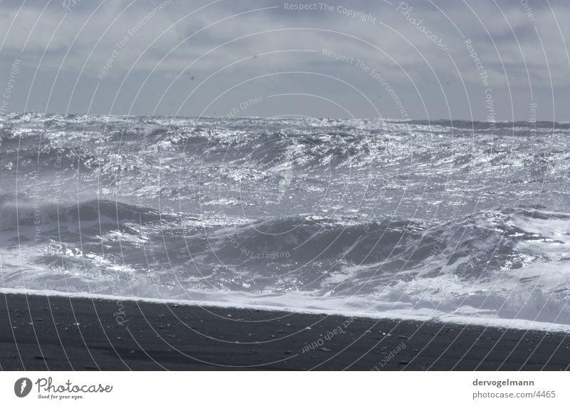 Black Beach Strand Meer Wellen Brandung schwarz Lava Teneriffa Horizont See Spanien Europa Sand Vulkan Wasser