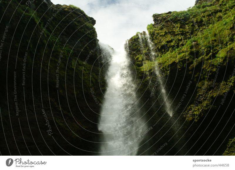 Wasserfall Natur Wasser nass Island Wasserfall spritzen