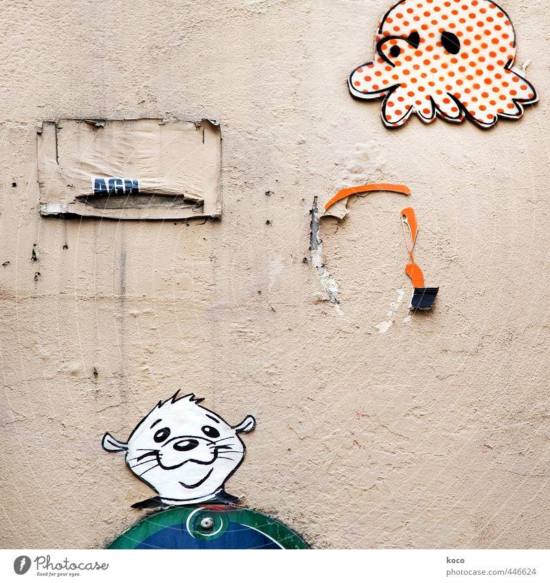 LUSTIG. blau grün weiß Freude Tier schwarz Gesicht Graffiti Wand Mauer lustig Glück Kopf Paar Freundschaft orange