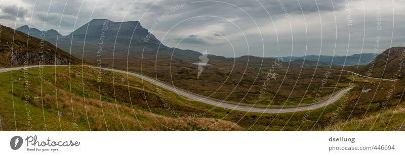 Highland Road Umwelt Natur Landschaft Pflanze Himmel Wolken Horizont Sommer schlechtes Wetter Gras Sträucher Wildpflanze Wiese Berge u. Gebirge Verkehrswege