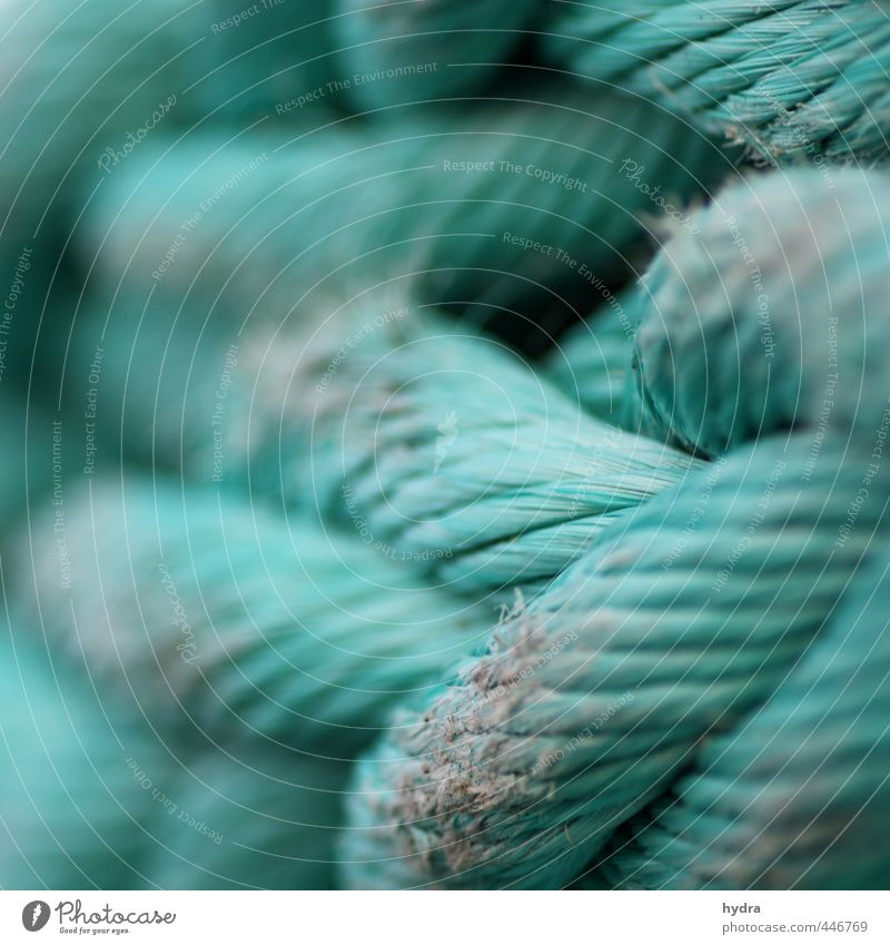 Seilschaft alt grün Kraft Erfolg Macht Sicherheit Schutz Netzwerk festhalten Kunststoff Hafen stark Schifffahrt türkis