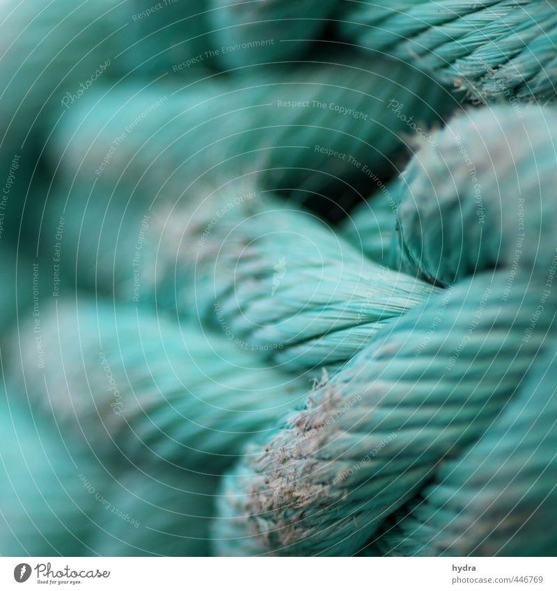 Seilschaft Segeln Fischereiwirtschaft Erfolg Trosse Schifffahrt Hafen Kunststoff Knoten Netzwerk festhalten stark grün türkis Kraft Willensstärke Macht