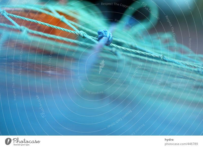 grün blaues Netzwerk Angeln Fischer Fischereiwirtschaft Fischereihafen Fischernetz An Bord Kunststoff Linie Knoten fest stark türkis Kraft Sicherheit