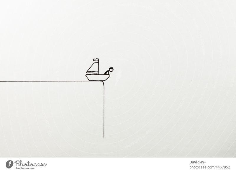 Konzept - Sackgasse - am Abgrund Ende Mann aussichtslos ausweglos Zeichnung hoffnungslos Zwickmühle abgrund Strichmännchen