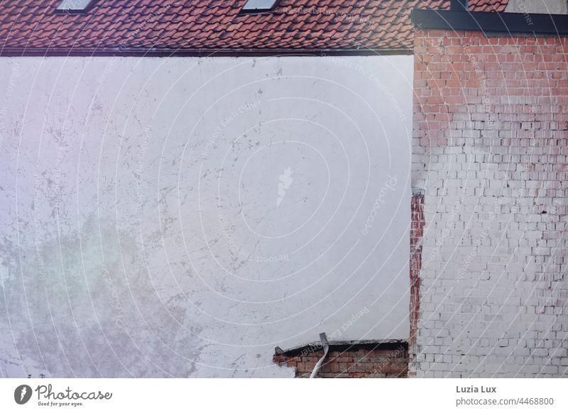 Fassaden geometrisch, Backstein, rot und weiß Geometrie Form Formen Strukturen & Formen Wand Mauer alt Stein Außenaufnahme Muster Backsteinwand Backsteinfassade