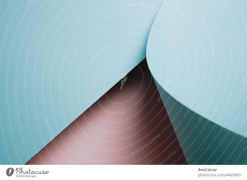 Abstrakte rosa und blauen Farbe Papier Geometrie Zusammensetzung Hintergrund, minimalistische Schatten, kopieren Raum. Minimale geometrische Formen. Bunte Hintergrund Konzept, Transgender-Flagge