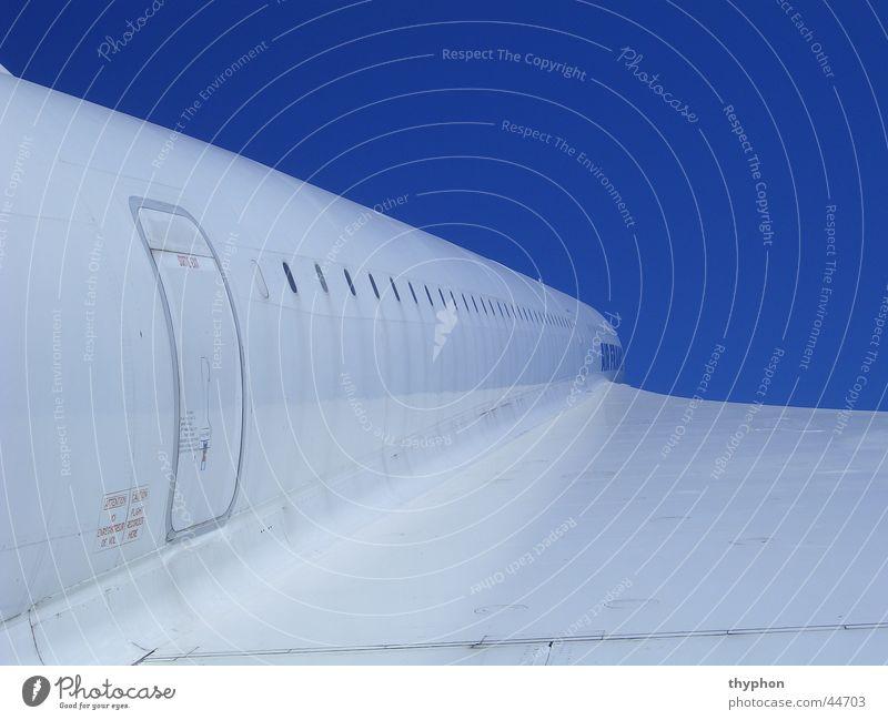 Concorde weiß Flugzeug Luftverkehr blau Perspektive Flügel Überschallflugzeug Tür