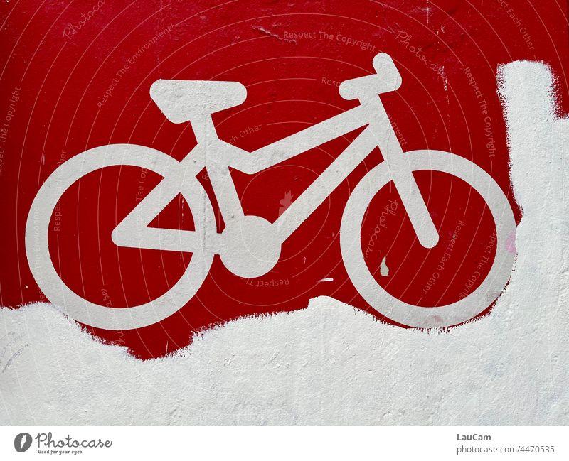 Festgefahren - weißes Fahrrad auf rotem Grund Fahrradfahren Fahrradtour Fahrradweg Rad Radfahren Verkehrsmittel Mobilität Bewegung umweltfreundlich