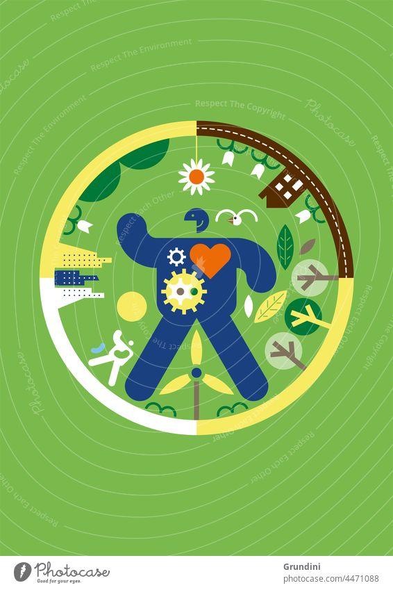 Öko-Zyklus Ökologie Grafik u. Illustration graphisch einfach ökologisch Windturbine Blätter Klimawandel Erneuerbare Energien erneuerbare Energien Mann