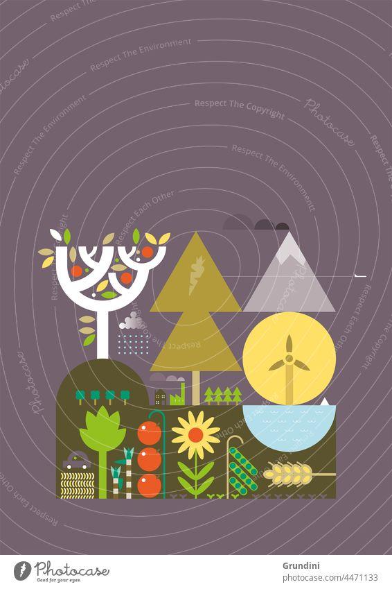 Ökologische Umwelt Ökologie Grafik u. Illustration graphisch einfach ökologisch Blätter Wind Klimawandel Erneuerbare Energien erneuerbare Energien Bäume