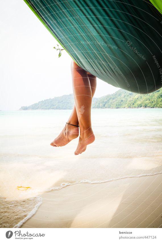 Hammock V Frau Mensch Hängematte Beine Fuß Zehen hängen Erholung Ferien & Urlaub & Reisen Strand Sandstrand Asien Thailand schlafen Reisefotografie Sommer