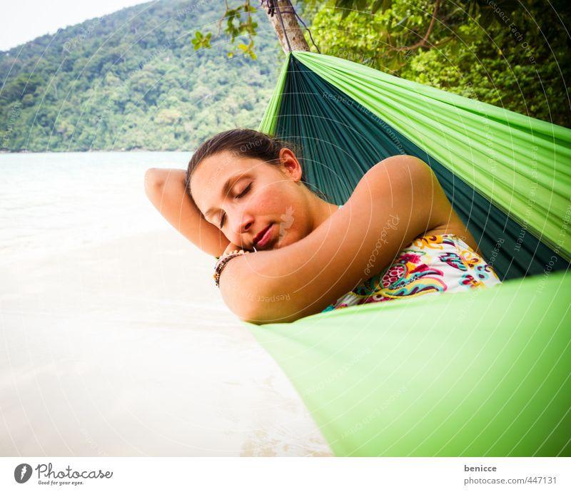 Hammock II Frau Mensch Hängematte Erholung Ferien & Urlaub & Reisen Strand Sandstrand Asien Thailand liegen schlafen Bikini Sommer Paradies Menschenleer