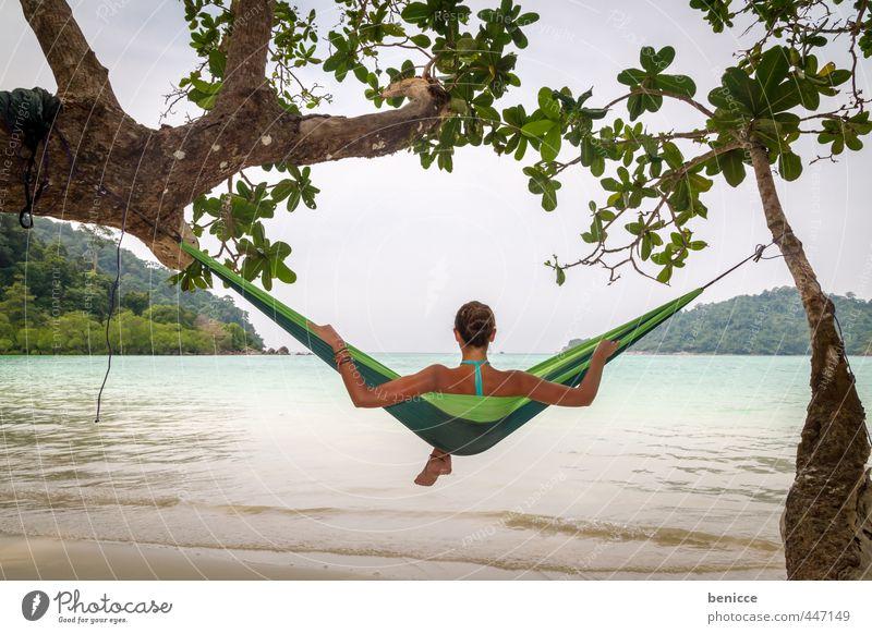 Hammock IV Mensch Frau Natur Ferien & Urlaub & Reisen grün Wasser Sommer Sonne Meer Erholung Mädchen Strand Reisefotografie liegen Haut Rücken