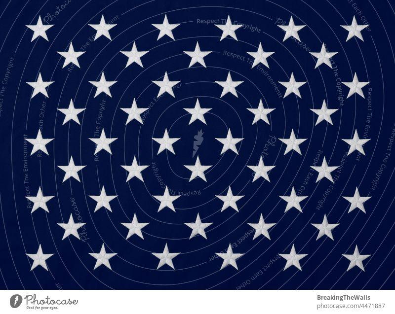 Gestickte Sterne der amerikanischen Flagge blau Kanton Fahne Amerikaner uns USA Vereinigte Staaten weiß Transparente Baumwolle Leinwand schwer Hintergrund