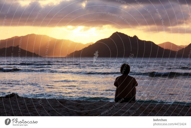 die sonne versinkt. gefühl und liebe bleiben. ganz tief aufgesaugt. Paradies Wärme Glück Berge u. Gebirge Insel schön Trauminsel Meer Wolken Seychellen