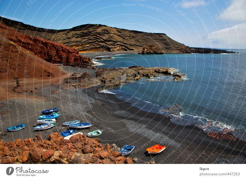 Himmel Natur Ferien & Urlaub & Reisen blau grün Sommer Meer Landschaft Wolken Strand gelb Küste Stein braun Felsen Sand