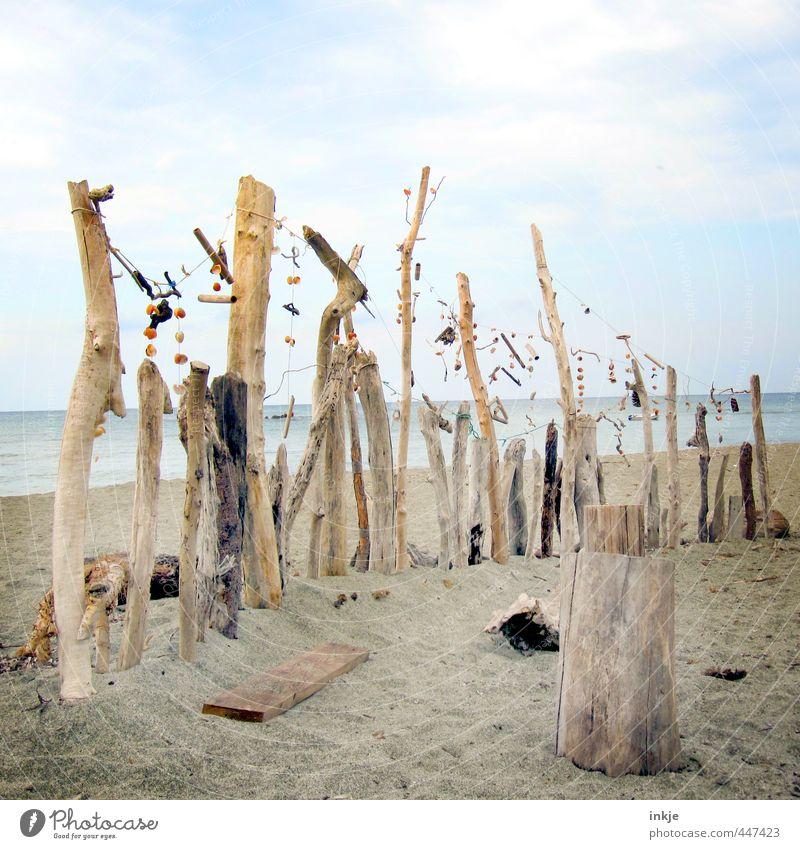 Was vom Sommer übrig blieb Himmel Natur Wasser Meer Wolken Strand Umwelt Küste Holz Sand außergewöhnlich Kunst braun Schönes Wetter Dekoration & Verzierung